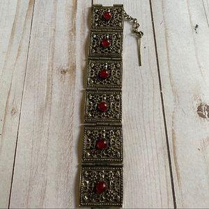 Vintage ornate paneled silver tone bracelet